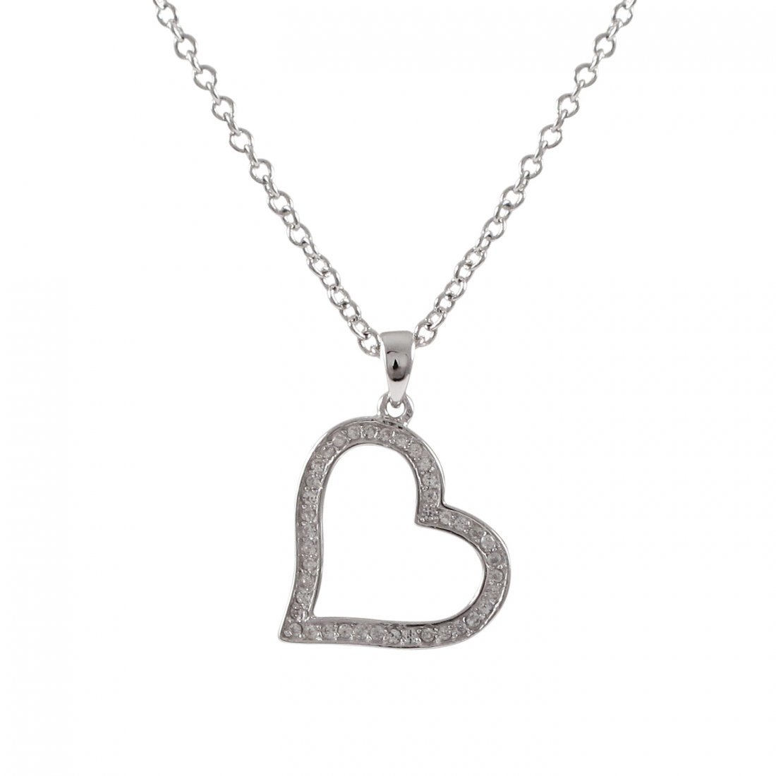 Rhodium Plated Sterling Silver Open Heart CZ Pendant, 2