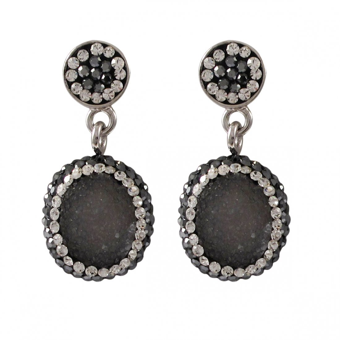 Grey-Blue Druzy Natural Stone Surrounded With White And