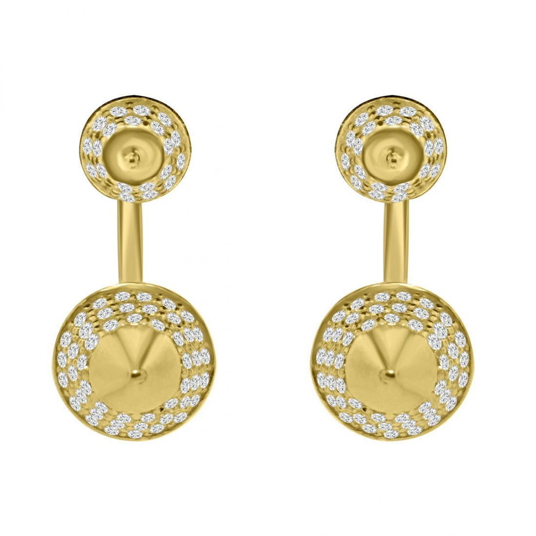 Sterling Silver Gold Plating and CZ Spike Stud Earrings