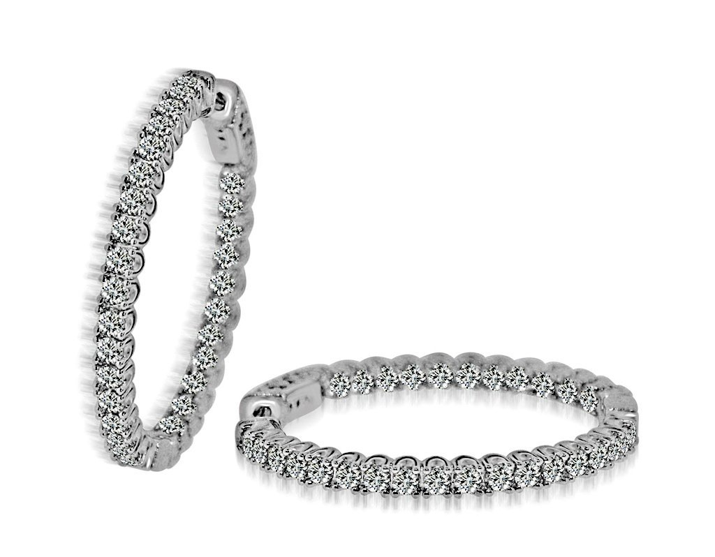 Sterling Silver Black Rhodium Plated and CZ Hoop Earrin