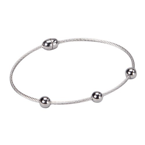 Silver Tone Stainless Steel Magnet Bracelet With 3 Ball