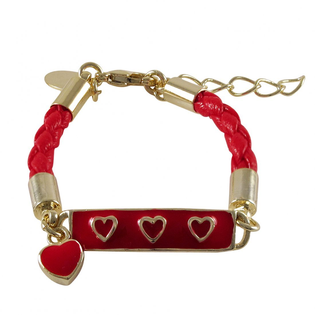 Red Enamel Bar With Red Hearts, Red Cord Gold Plated Br