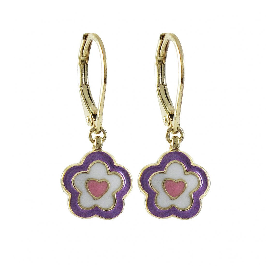 Purple, White, And Pink Enamel Flower/Heart -Gold Tone