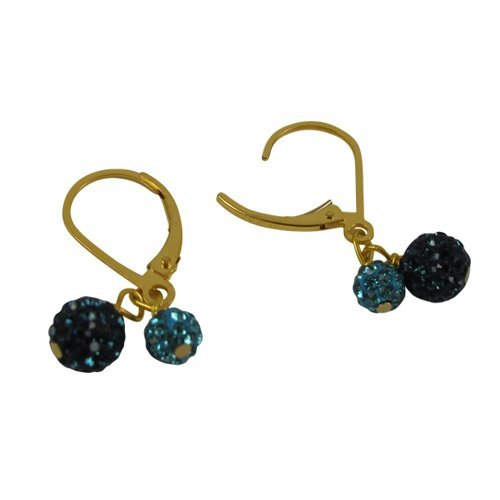 Gold Filled Gold Lever back w 2 Shamballa Crystals(4m 6