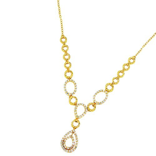 Sterling Silver Gold Plated White CZ Necklace