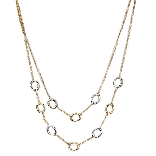 2 Row Two Tone Circle Necklace