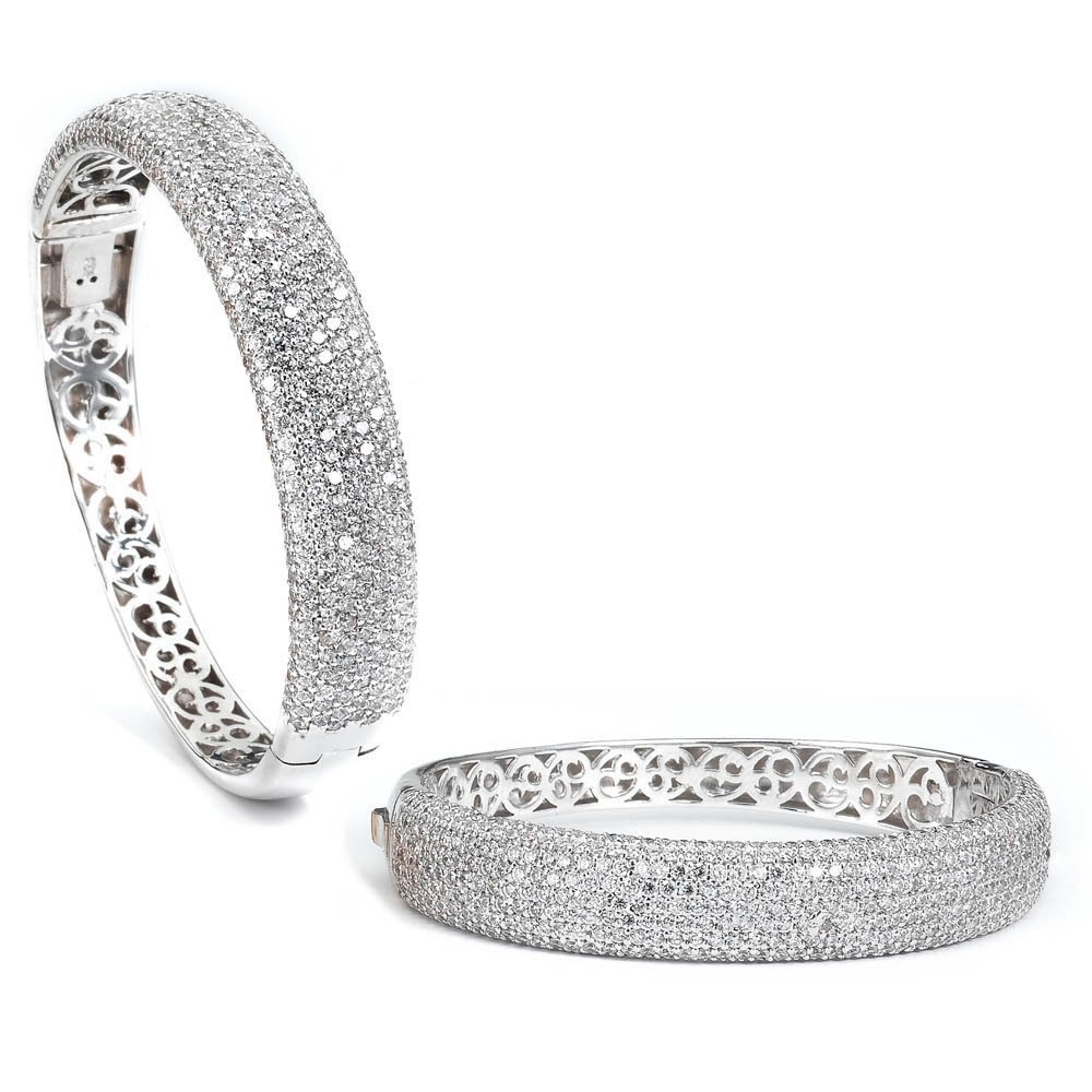 Sterling Silver Rhodium Plated and micro-pave CZ Bangle