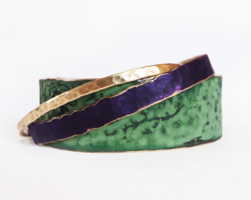 This listing is for THREE Cuffs: One Skinny in GOLD DUS