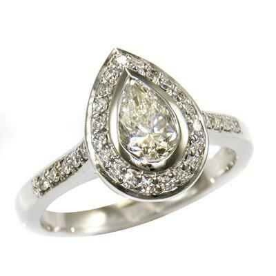 14K WHITE GOLD P/S 0.75 H VS1 & ROUND DIAMOND RING 1PS=