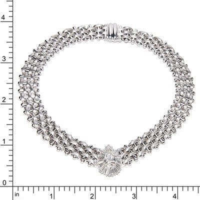 18K WHITE GOLD DIAMOND NECKLACE 125.20 GRAMS   1PS=3.34