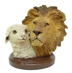 Living Stone Lion with Lamb Bust