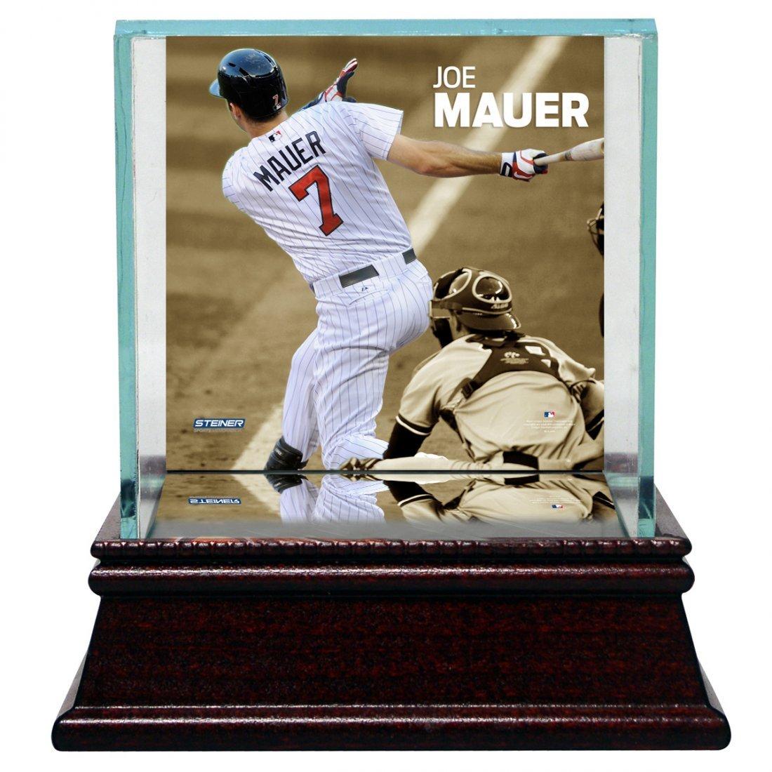 Joe Mauer Swinging Background Glass Single Baseball w/