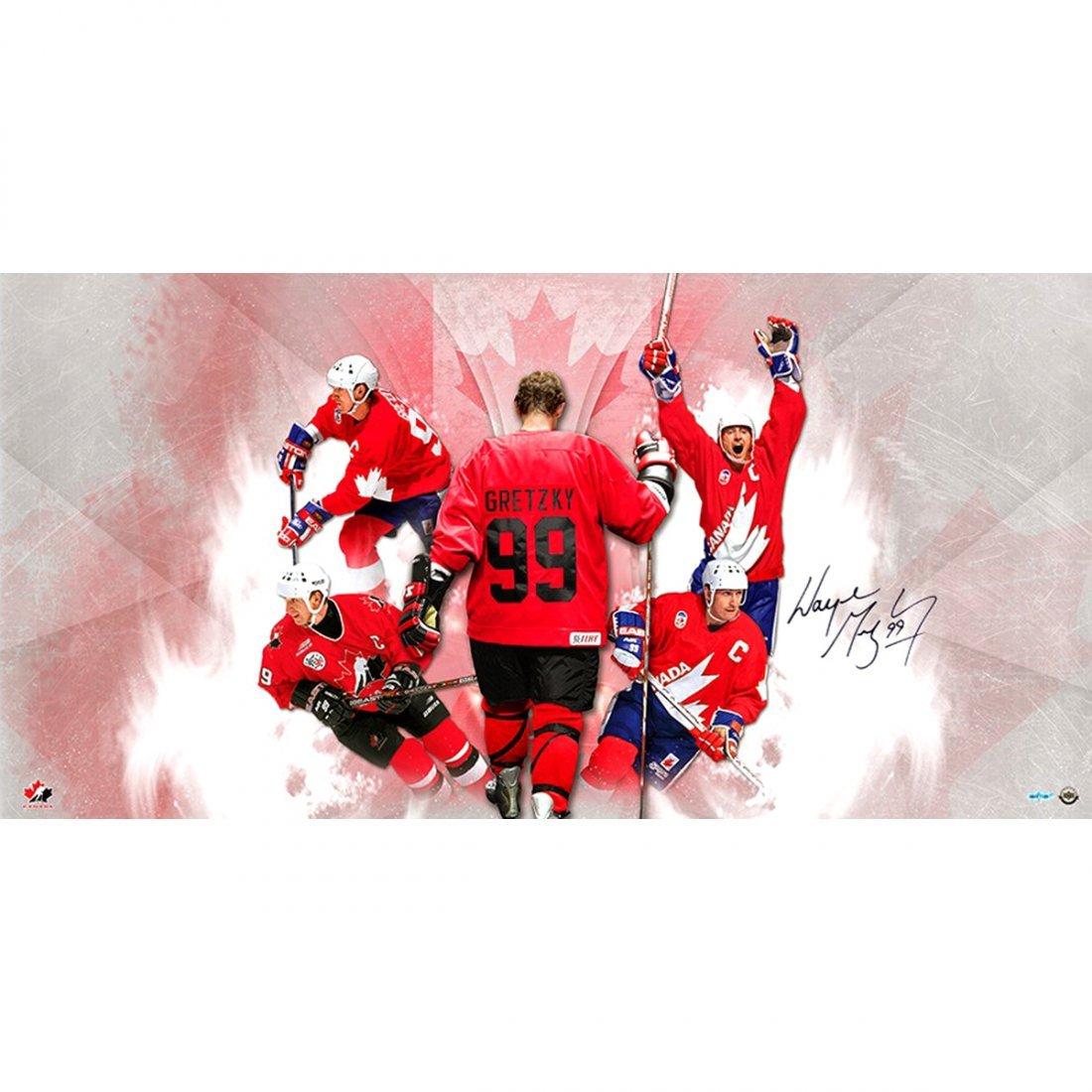 Wayne Gretzky Signed Team Canada Homeland 36x18 Photo C