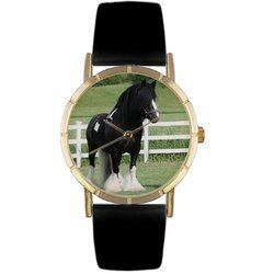 Gypsy Vanner Horse Black Leather And Goldtone Photo Wat