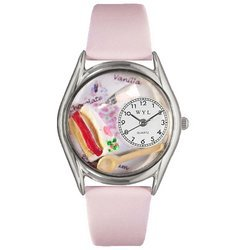 Pastries Pink Leather And Silvertone Watch #S0310009