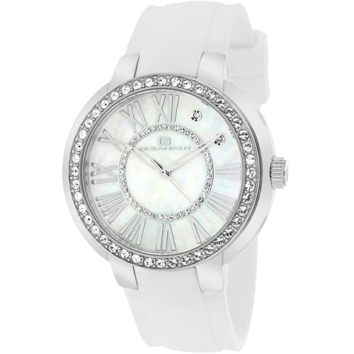 Stainless steel case, Rubber strap, White Mother of Pea