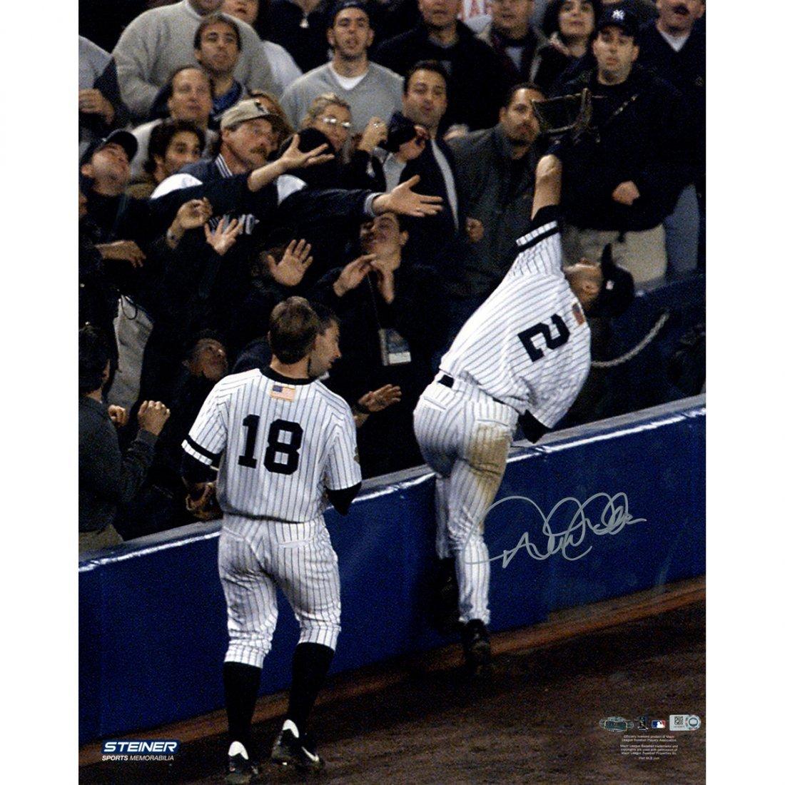 Derek Jeter Signed 2001 ALDS Falling Into Stands 16x20
