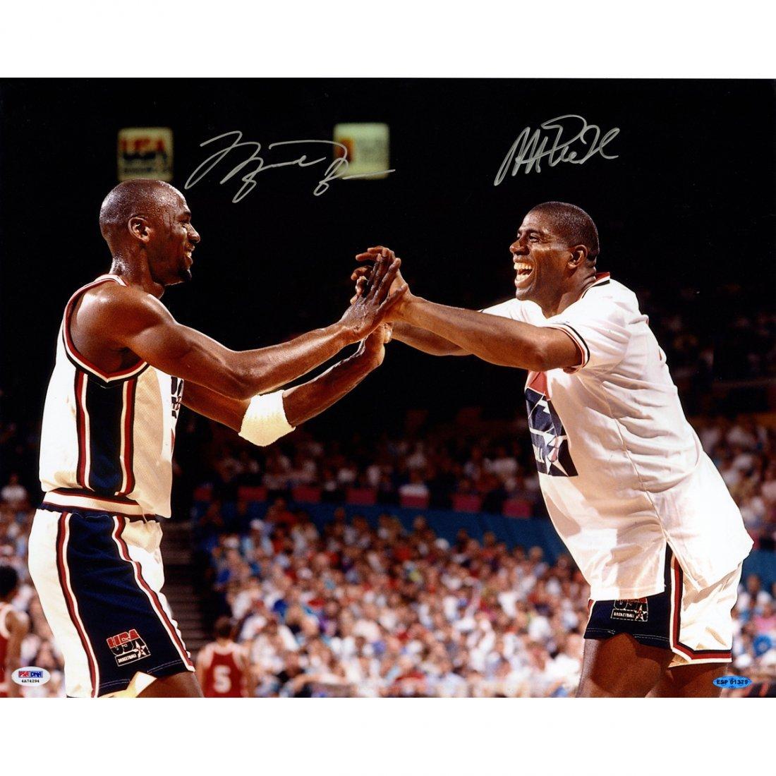 Michael Jordan / Magic Johnson Dual Signed Celebartion