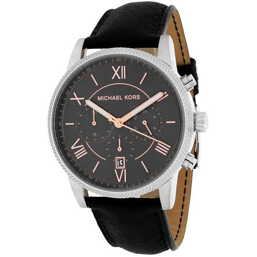 Stainless steel case, Leather strap, Grey dial, Quartz