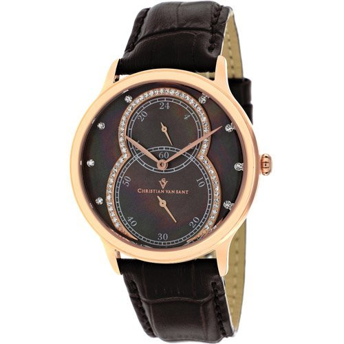 Stainless steel case, Leather strap, Brown Mother of Pe