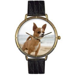 Chihuahua Black Leather And Goldtone Photo Watch #N0130