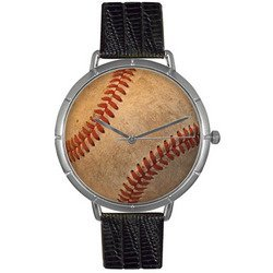 Baseball Lover Black Leather And Silvertone Photo Watch