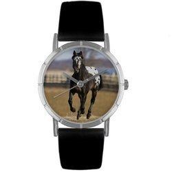 Appaloosa Horse Black Leather And Silvertone Photo Watc