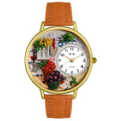Gardening Tan Leather And Goldtone Watch #G1210008