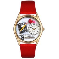 Teacher Red Leather And Goldtone Watch #C0640002