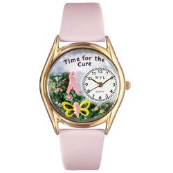 Time For The Cure Pink Leather And Goldtone Watch #C111