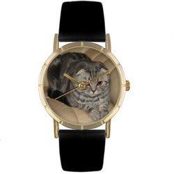 Scottish Fold Cat Black Leather And Goldtone Photo Watc