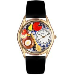 Gourmet Black Leather And Goldtone Watch #C0310001