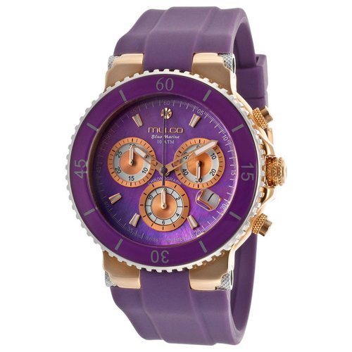 Stainless steel case, Silicon strap, Purple mother of p
