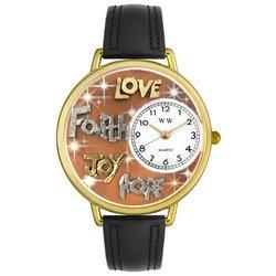 Faith Hope Love Joy Black Leather And Goldtone Watch #G