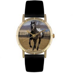 Appaloosa Horse Black Leather And Goldtone Photo Watch