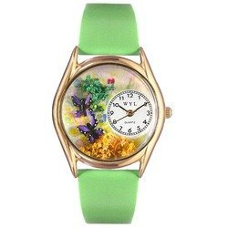 Butterflies Green Leather And Goldtone Watch #C1210001
