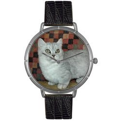 Munchkin Cat Black Leather And Silvertone Photo Watch #