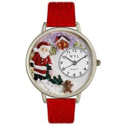 Christmas Santa Claus Red Leather And Silvertone Watch