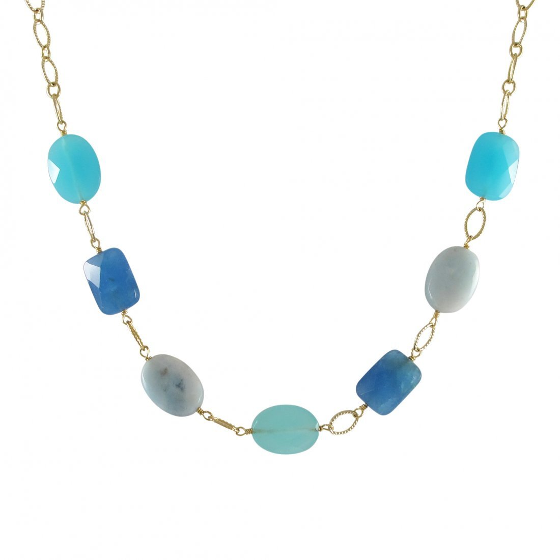 Blue Quartz And Aqua Combination Semi Precious Stones O