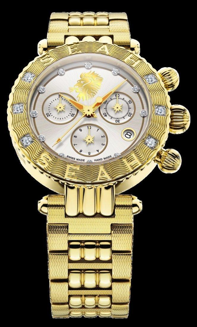 38MM Swiss Made Diamond Watch .50 CTTW   18K Yellow Gol