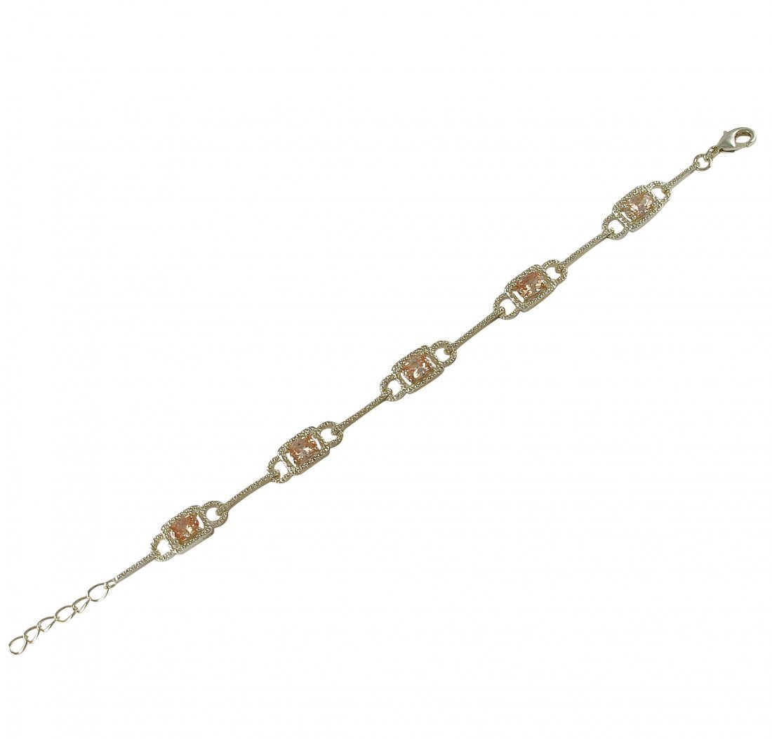 Champagne CZ Surrounded With White CZ, Gold Plated Bras