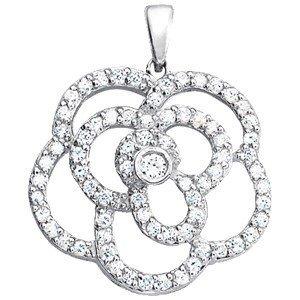 14K Gold 0.74 ctw Round Diamond Pendant.  Brand New!