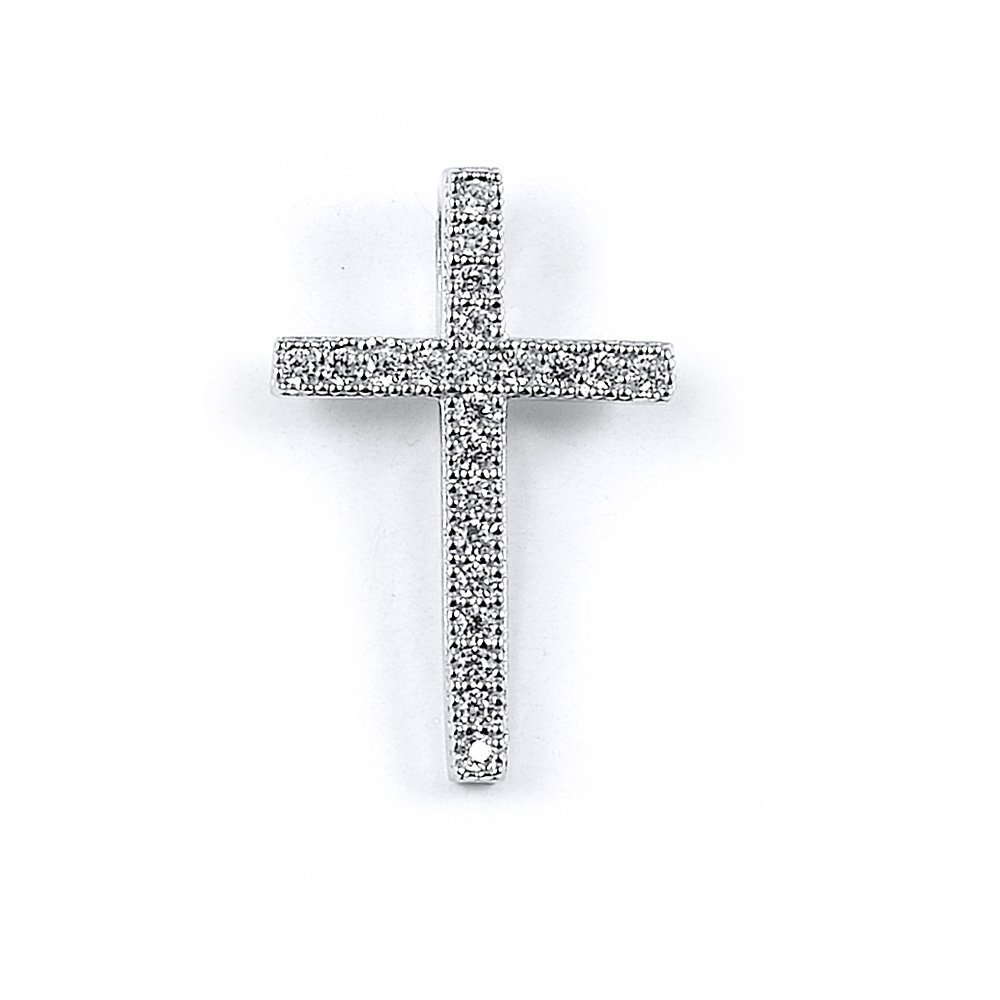 Sterling Silver Rhodium Plated and CZ Cross Pendant   M