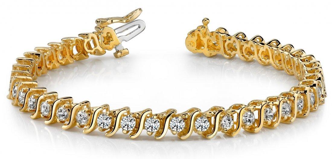 14KT Gold 5 ct Diamond Bracelet Featuring 16.9 Grams of