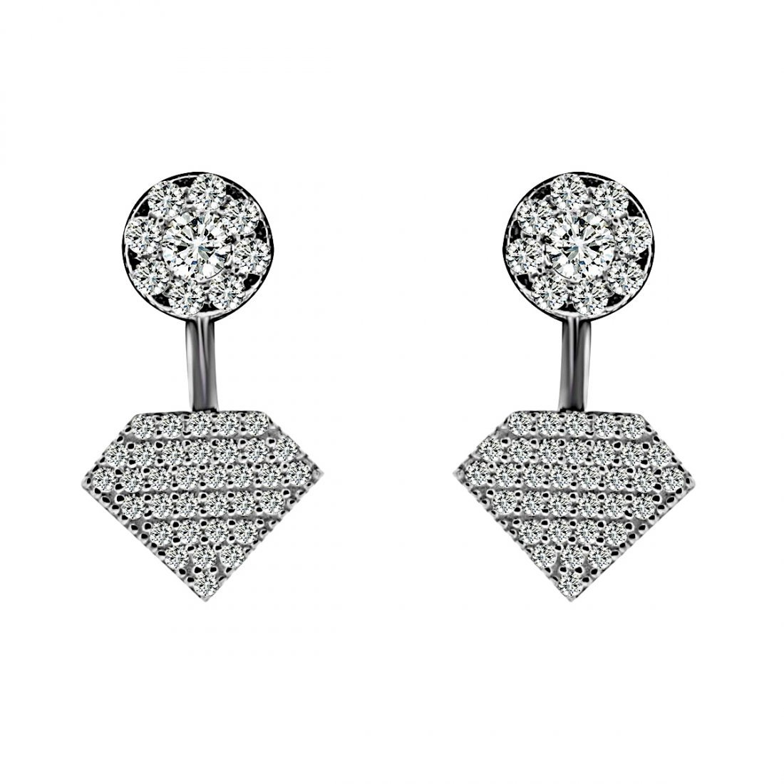 Sterling Silver Black Rhodium Plated and CZ Diamond Sha