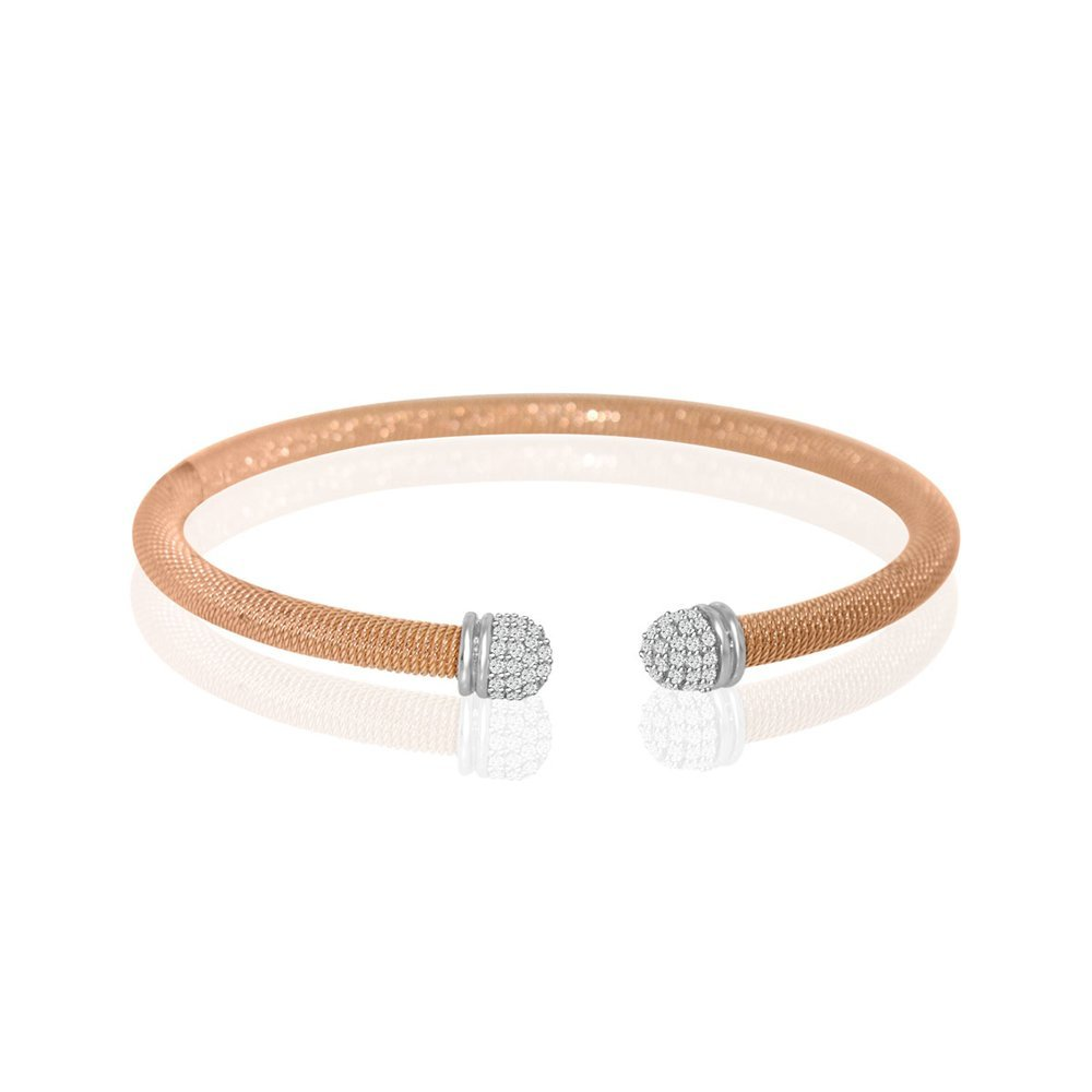Sterling Silver Rose Gold Plated and CZ Italian Bangle