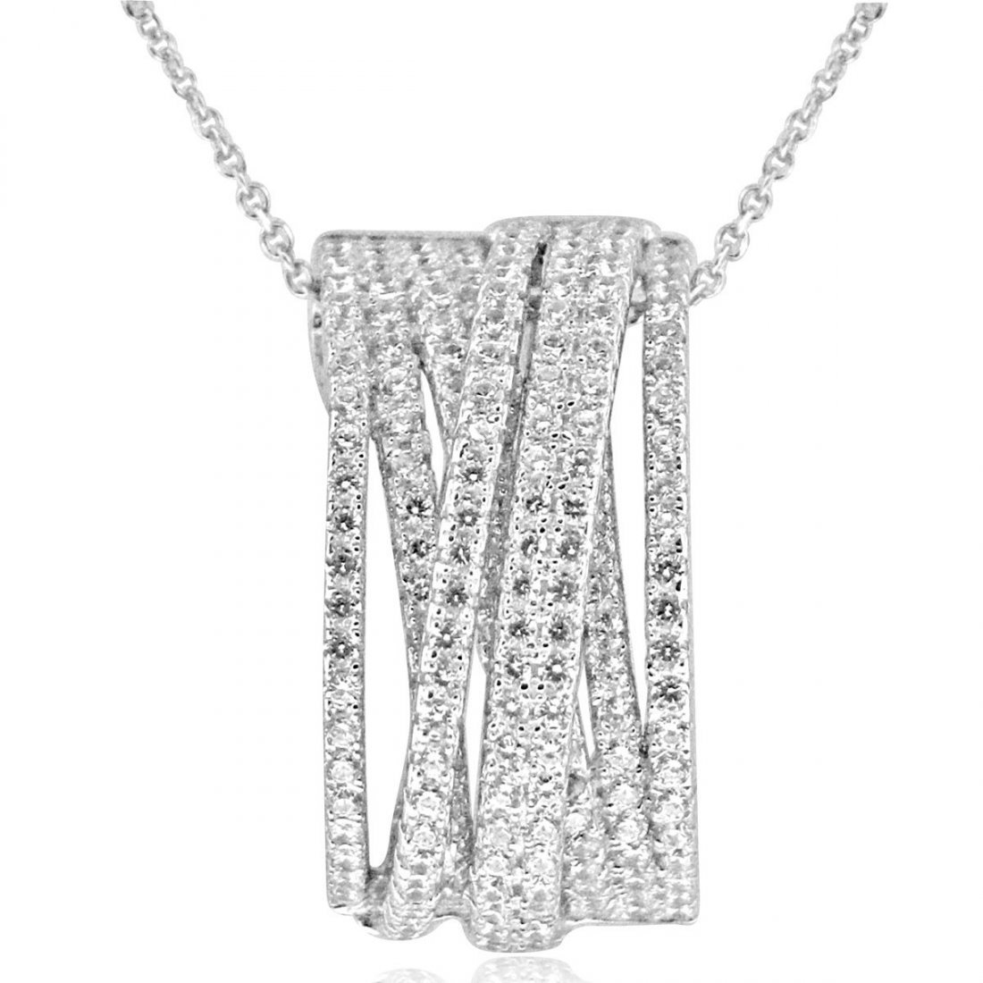 Sterling Silver Rhodium Plated and Multi-Row CZ Necklac