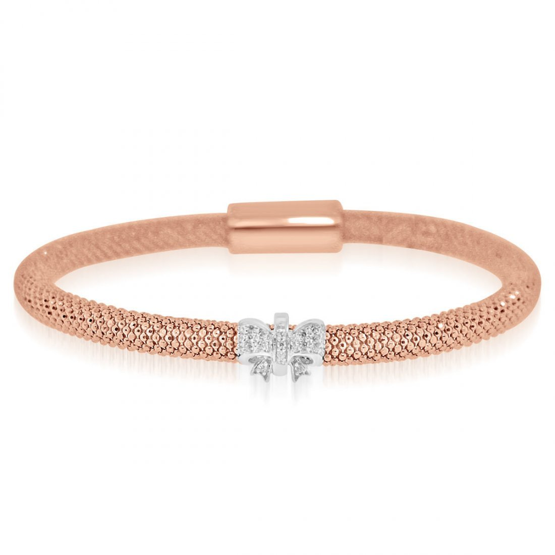 Sterling Silver Rose Gold Plated and CZ 1 station Ribbo