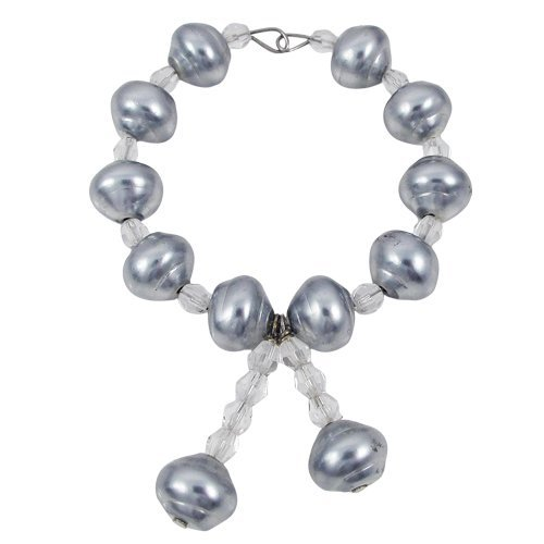 Set of 4 - Grey Baroque Pearl And 6mm Diamond Cut Cryst
