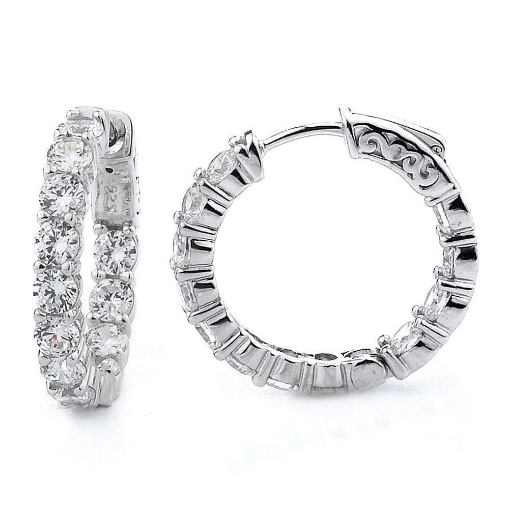 Sterling Silver Rhodium Plated and CZ Oval Hoop Earring
